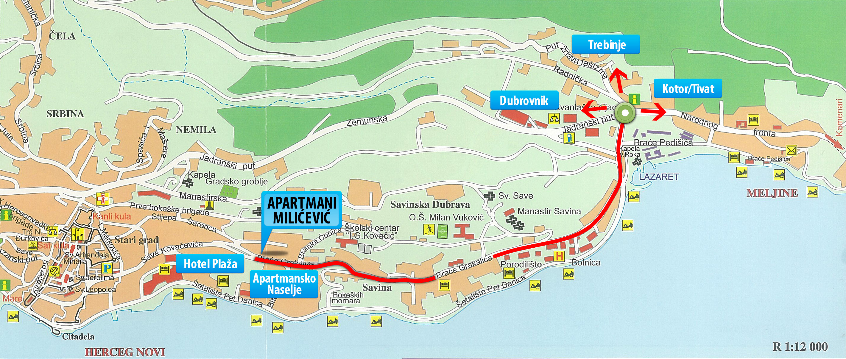 Herceg Novi Montenegro City Or Destination Online Map Town